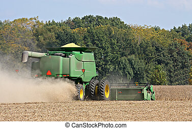 Harvesting Soybeans - Harvesting soybeans with a combine on...