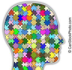 Psychology head - Illustration of a head full of colourful...