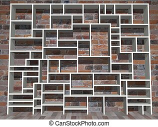 Shelving - Illustration of empty shelving unit against a...