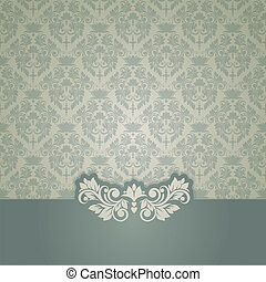 Elegant vintage card with damask seamless background...