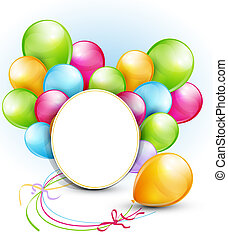 congratulation vector background with balloons and a round...