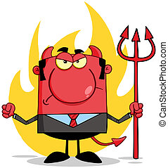 Angry Devil In Front Of Flames - Angry Devil With A Trident...