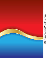 Red & blue background with golden stripe