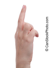 Middle finger - Woman hand showing middle finger isolated on...