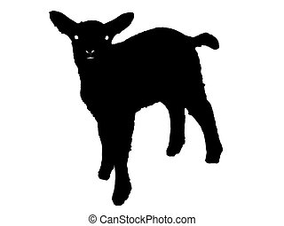 Silhouette of a lamb - Black silhouette of a lamb