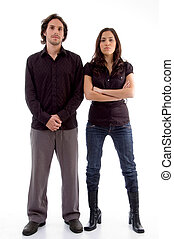standing couple looking at camera on an isolated white...