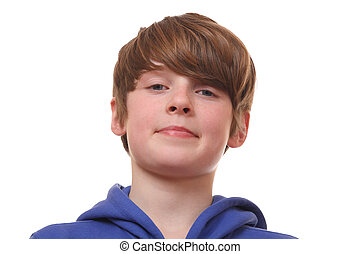 Confident boy - Portrait of a confident young boy on white...
