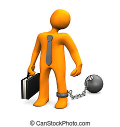 Business Prisoner - Businessman with iron shackle and sphere...