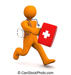 Medical Emergency - Orange cartoon character as doctor runs...
