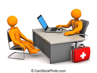 Doctor Patient - Doctor consults the patient 3d illustration...