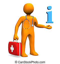 Doctor Information - Orange cartoon character as doctor with...