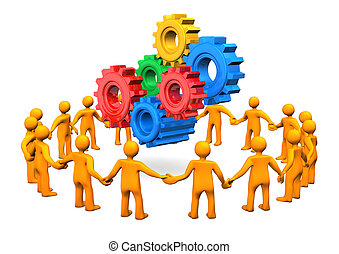 Clannishness Gears - Orange cartoon characters in a circle...