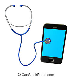 Stethoscope Smartphone - Blue stethoscope with smartphone on...