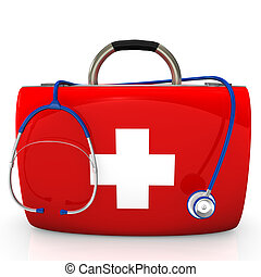 Stethoscope Doctor's Case - Red case with stethoscope on the...
