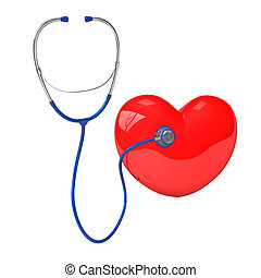 Stethoscope Red Heart - Stethoscope with red heart. 3d...