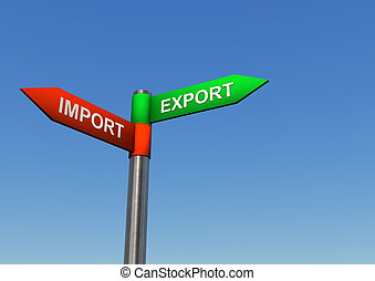 Directions Import Export - Signpost with two directions with...