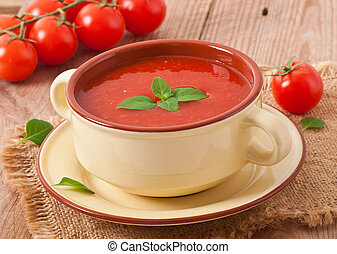 tomato soup with basil - Traditional hot fresh diet tomato...