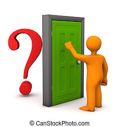 Door Question - Orange cartoon character knocks on the...