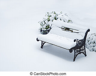ancient weathered garden bench covered with now