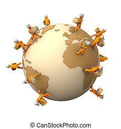 Express Worldwide Shipment - Orange cartoon characters with...