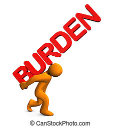 "Burden - Orange cartoon character with red text ""burden""."