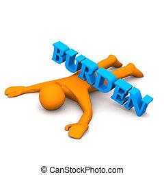"""Burden - Orange cartoon character with text """"burden""""."""