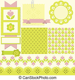 Scrapbook elements. - Vector illustration. Cute seamless...