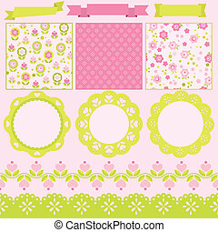 Scrapbook elements. Vector illustration. Cute seamless...