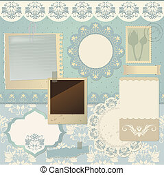Scrapbook elements - Vector illustration with seamless...