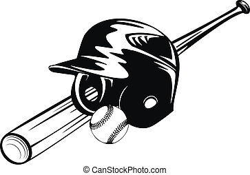 bbaseball, ヘルメット, ボール, コウモリ