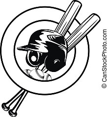 helmet, balls and crossed bats - Vector illustration...