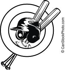 helmet, balls and crossed bats - Vector illustration...