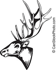 elk head - Vector an illustration of head of an artiodactyl...