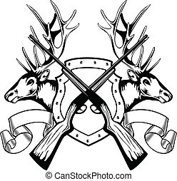 elk heads and crossed rifle - Vector image board crossed...
