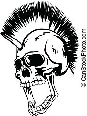 head punk skull - Vector image skull of the punk with mohawk...