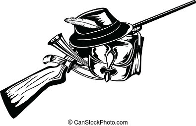 huntings set - Vector illustration hunting gun, hat, knife...