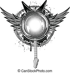 music frame - Vector illustration wings, guitars and barbed...