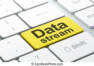 Data concept: Data Stream on computer keyboard background -...