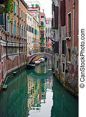 typical Venice canal - Nice bridge over a canal in Venice,...