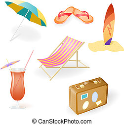 Vector Beach Set From Chaise Lounge, Beach Umbrella, Beach...