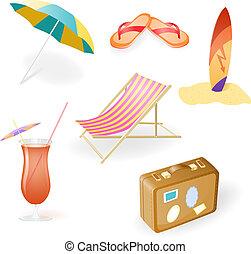 Vector Beach Set From Chaise Lounge, Beach Umbrella, Beach...