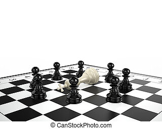 The white chess king lies surrounded by black chess pawns on...