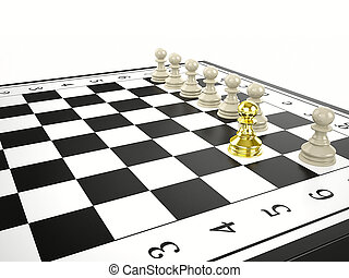 gold pawn and some white pawns - strategy and leadership...