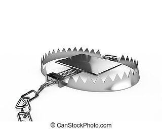 Empty trap with a chain, isolated on a white background
