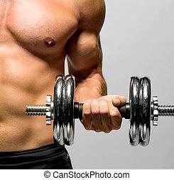 Poderoso, Muscular, homem, levantamento, pesos