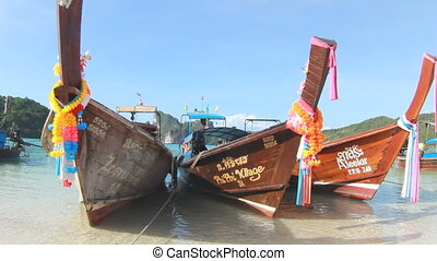 Boats in the tropical sea. Phi Phi island. Thailand