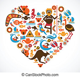Australia love - heart with vector icons and elements
