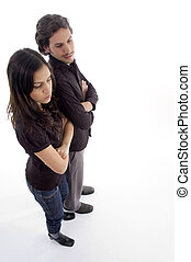 high angle view of standing couple on an isolated white...