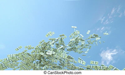 US dollar cash slow motion flow and blue sky Alpha matte