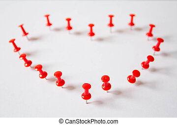 Colored plastic pushpins - Pushpin in the shape of heart